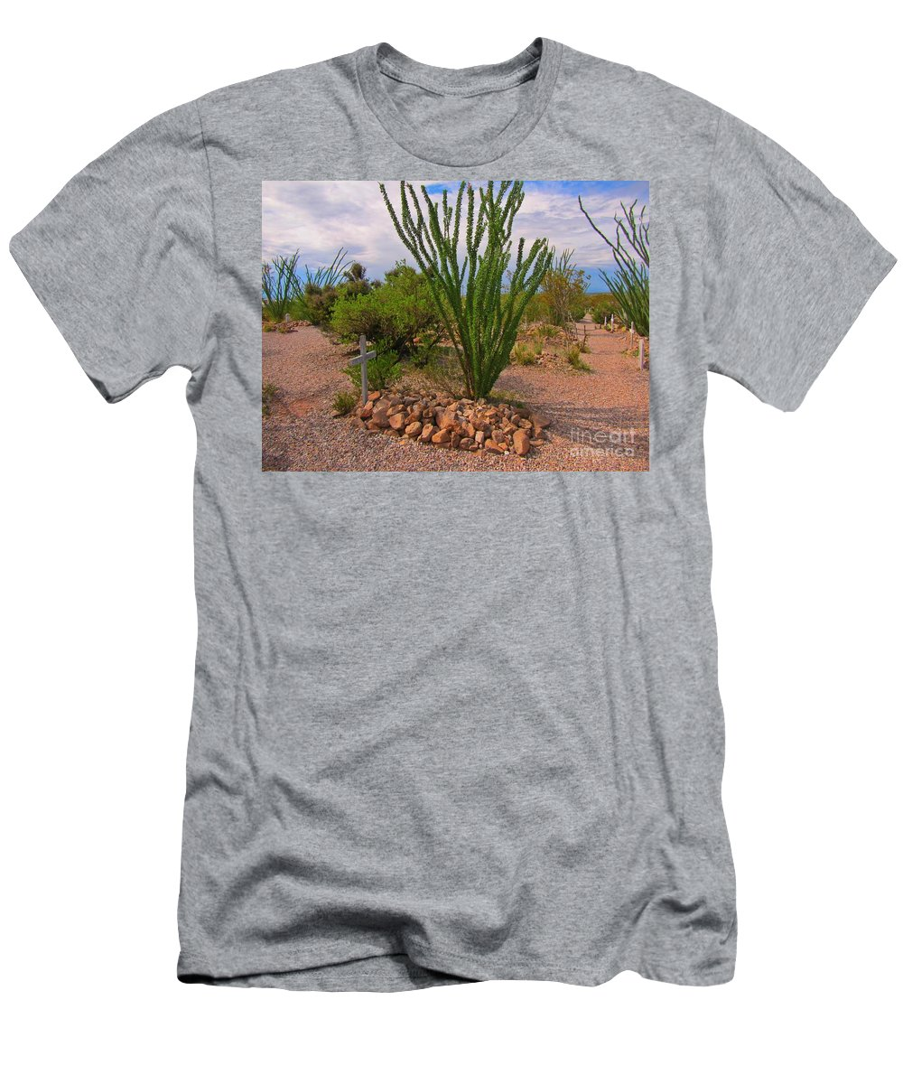 Famous Cemeteries Men's T-Shirt (Athletic Fit) featuring the photograph In The Boothill Cemetary by John Malone