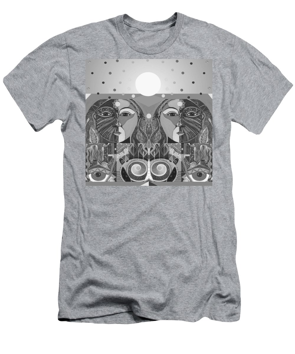 Figurative Abstraction Men's T-Shirt (Athletic Fit) featuring the digital art In Unity And Harmony In Grayscale by Helena Tiainen