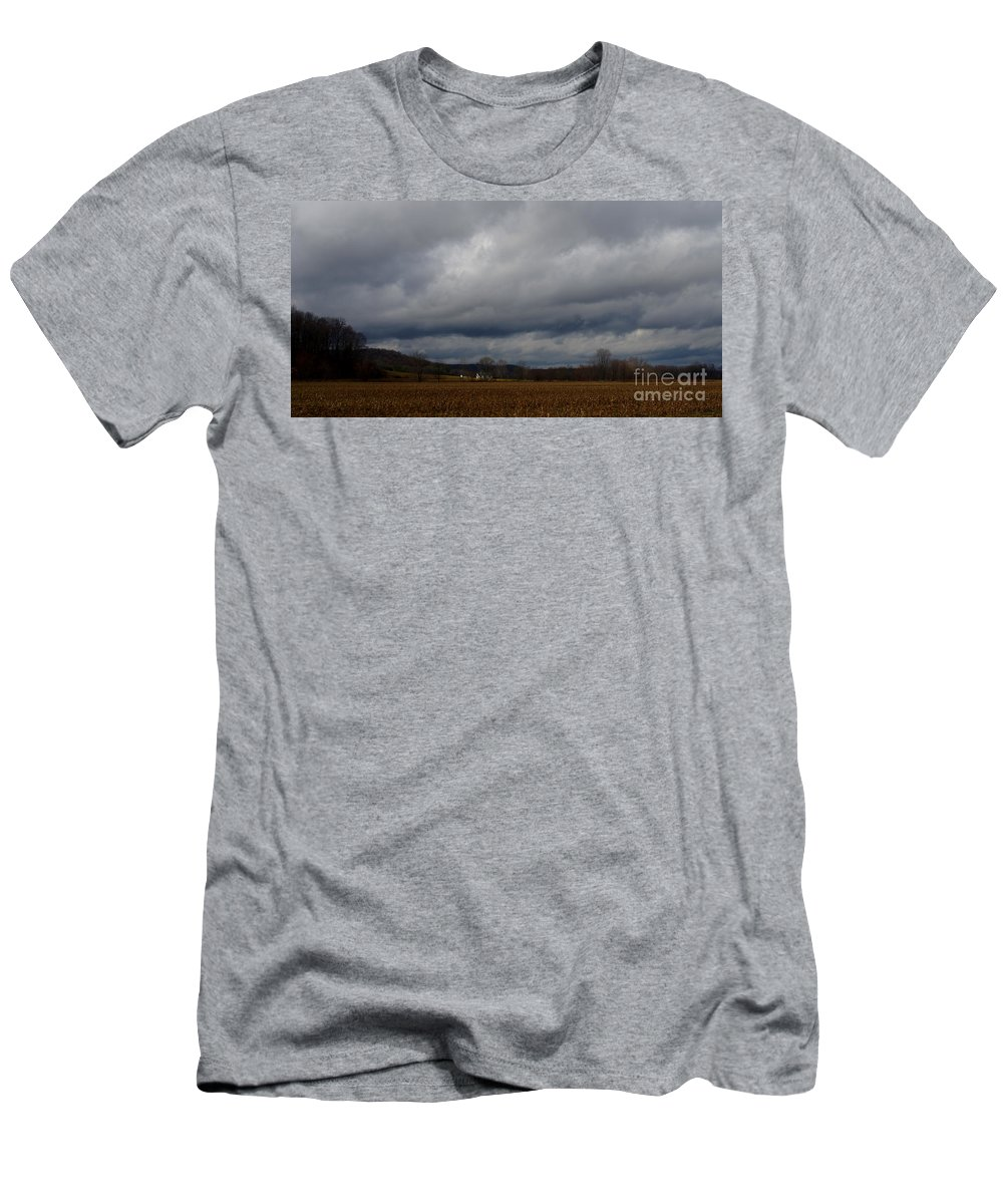 Indiana Farmland Storm Clouds Men's T-Shirt (Athletic Fit) featuring the photograph Indiana Farm II by Kitrina Arbuckle