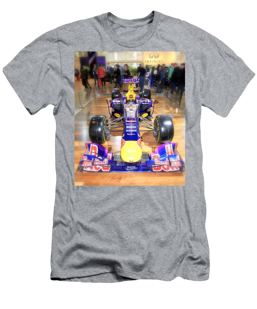 2013 Men's T-Shirt (Athletic Fit) featuring the photograph Infiniti Red Bull Formula One Racing Car by Valentino Visentini