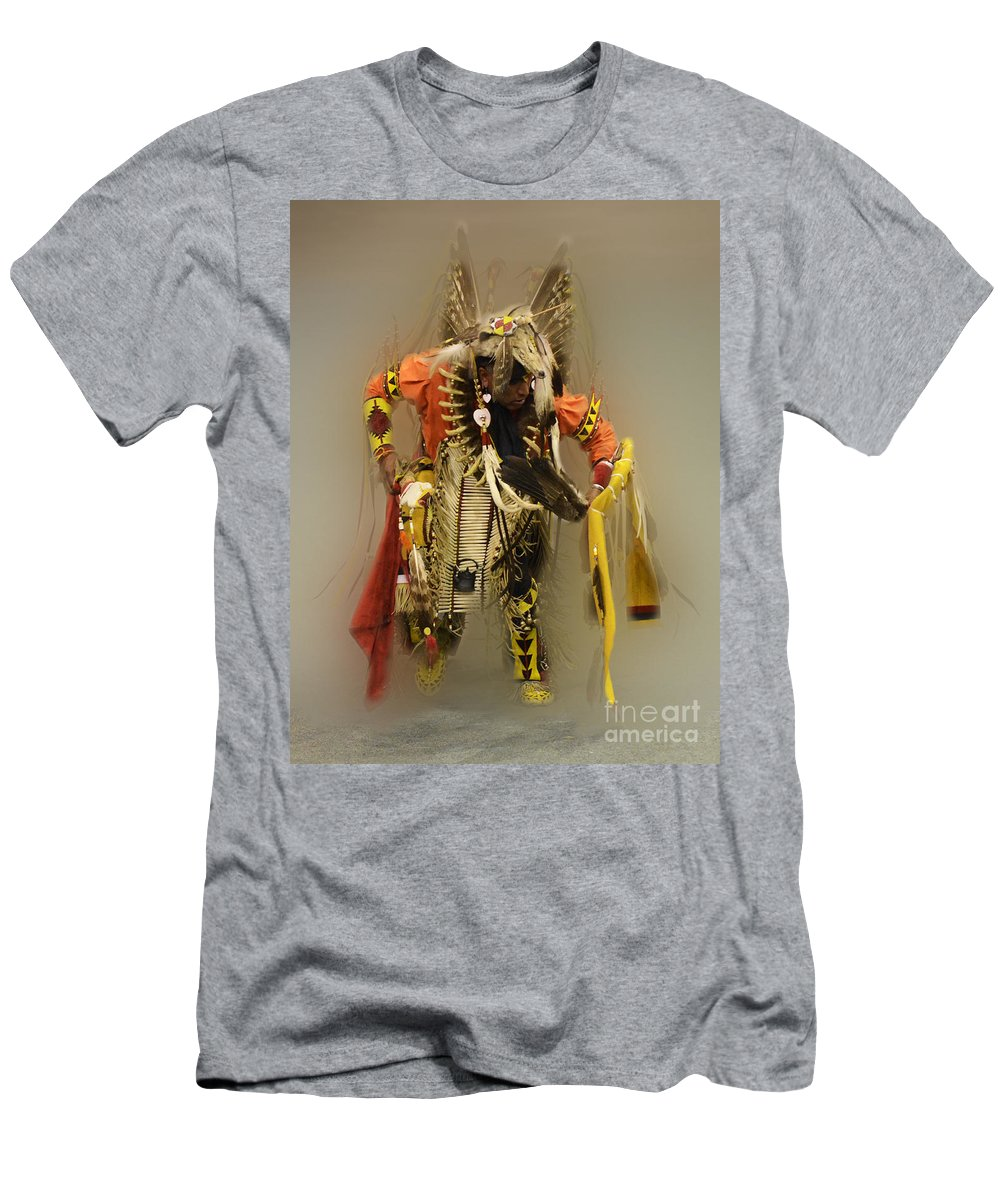 Pow Wow Men's T-Shirt (Athletic Fit) featuring the photograph Pow Wow Into The Mystic by Bob Christopher