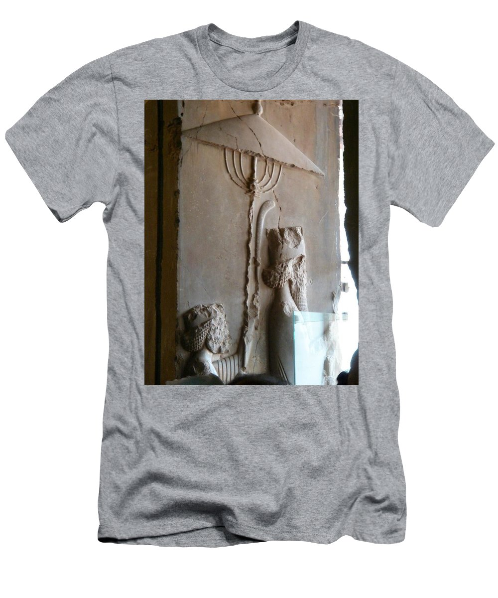 Iran Men's T-Shirt (Athletic Fit) featuring the photograph Iran Ancient Umbrella by Lois Ivancin Tavaf