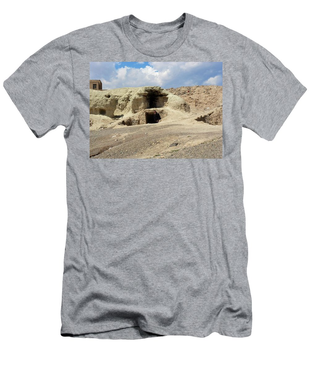 Cave Men's T-Shirt (Athletic Fit) featuring the photograph Iran Cave Office by Lois Ivancin Tavaf