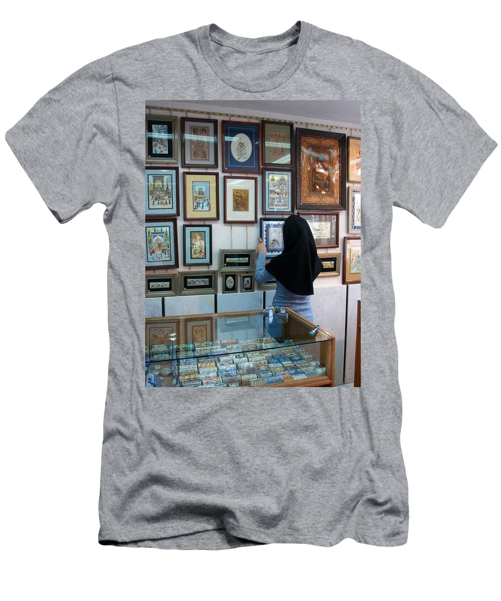 Art Men's T-Shirt (Athletic Fit) featuring the photograph Iran Isfahan Art Shop by Lois Ivancin Tavaf