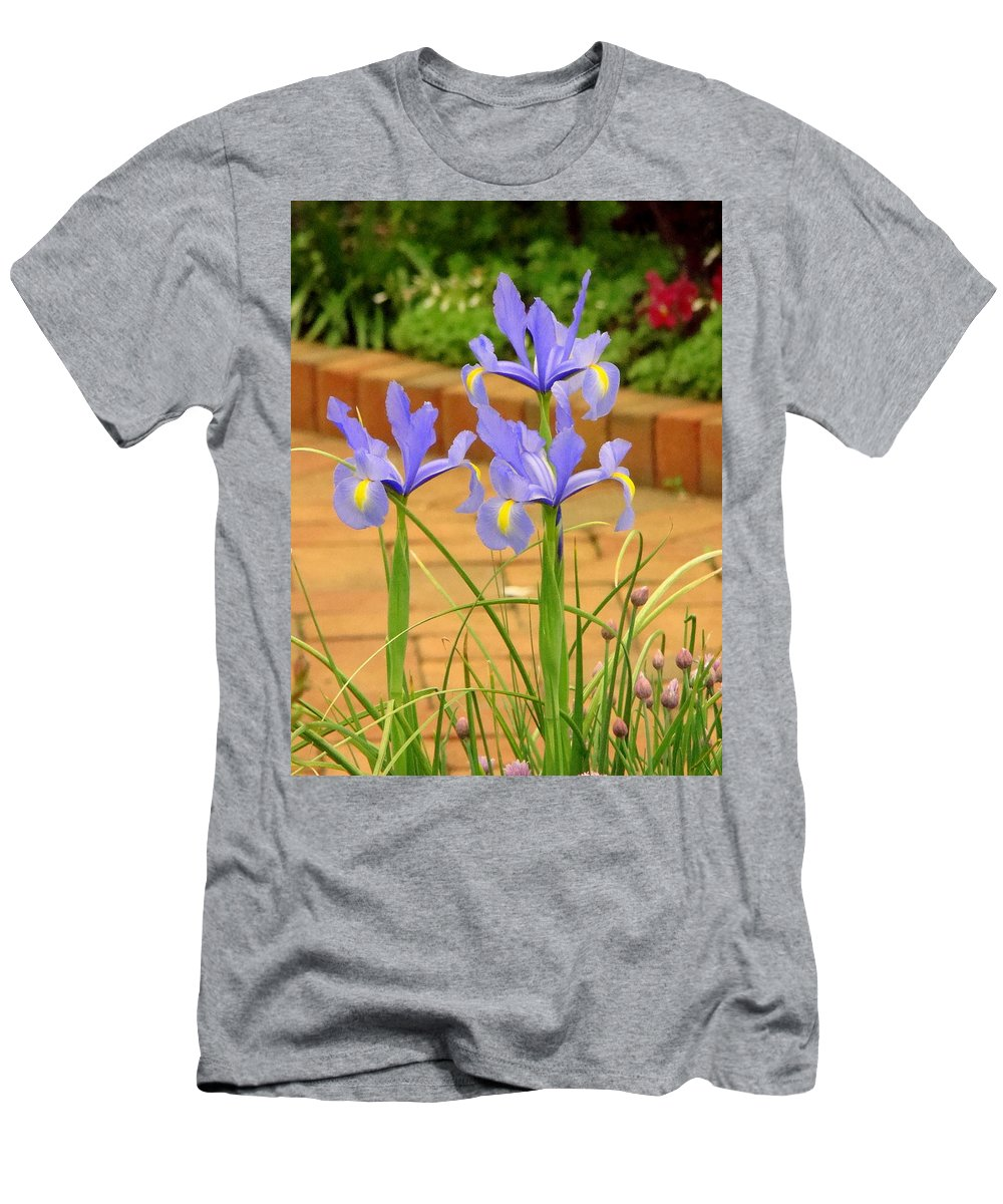 Fine Art Men's T-Shirt (Athletic Fit) featuring the photograph Iris Along The Walk by Rodney Lee Williams