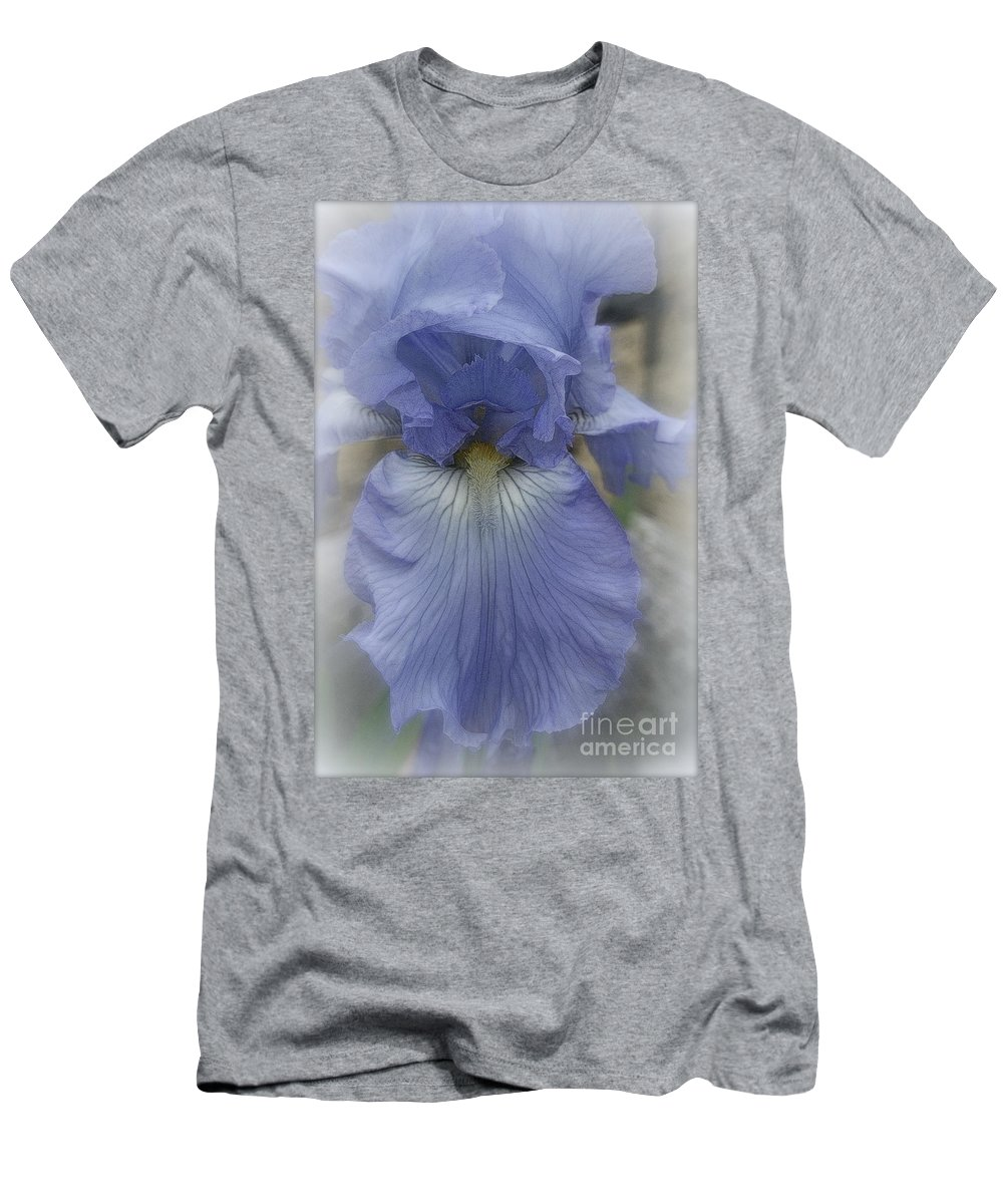 Blue Men's T-Shirt (Athletic Fit) featuring the photograph Iris Heart by Kay Novy
