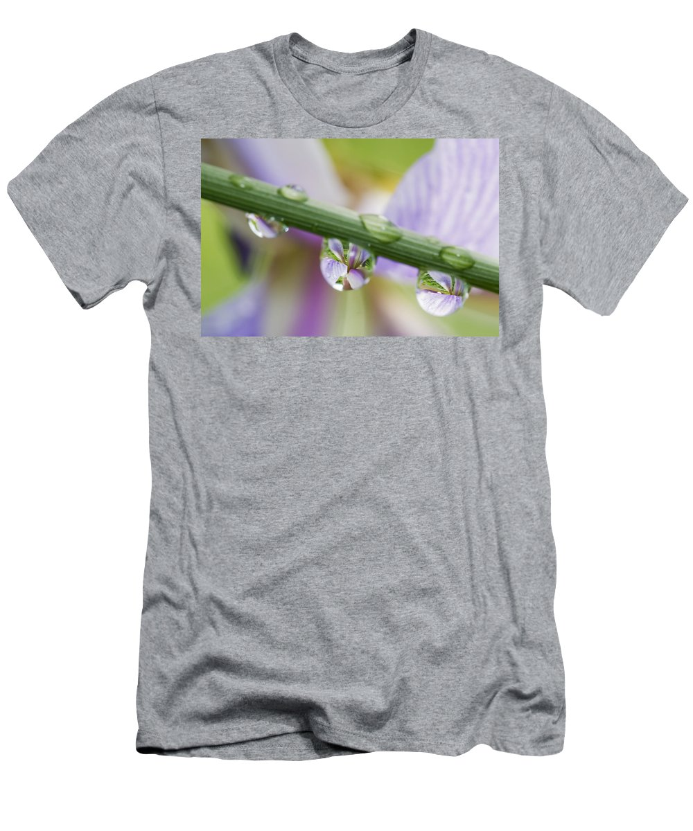 Flower Men's T-Shirt (Athletic Fit) featuring the photograph Iris Versicolor Reflection by Mircea Costina Photography