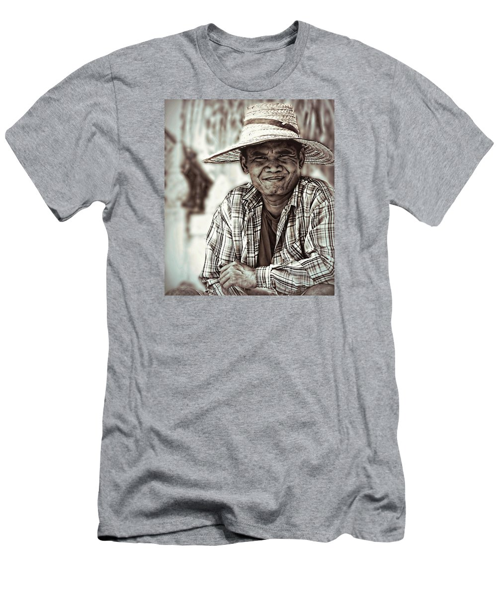 Farmer Men's T-Shirt (Athletic Fit) featuring the photograph Isaan Rice Farmer by Ian Gledhill