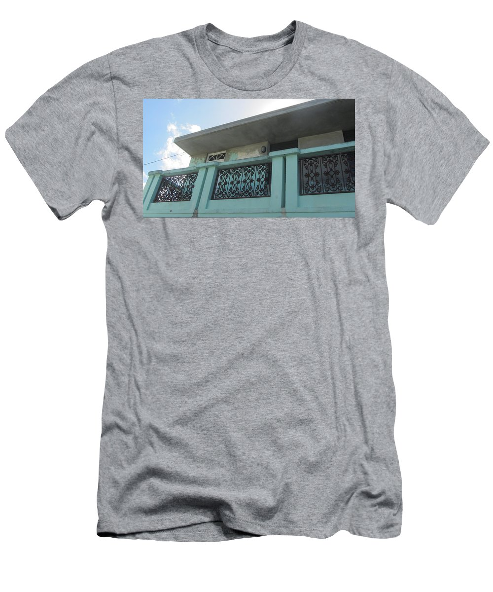 Architecture Men's T-Shirt (Athletic Fit) featuring the photograph Island Balcony Close Up by Anita Burgermeister