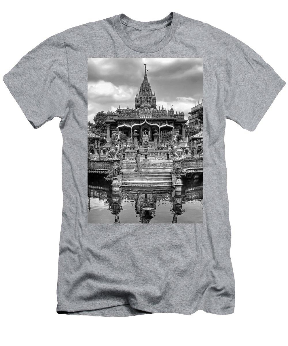 Temple Men's T-Shirt (Athletic Fit) featuring the photograph Jain Temple Monochrome by Steve Harrington