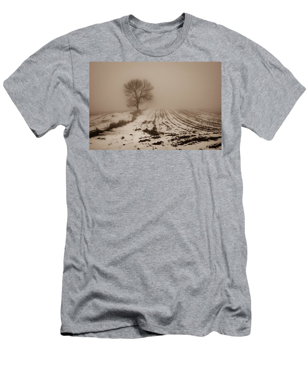 Bill Pevlor Men's T-Shirt (Athletic Fit) featuring the photograph January Fog by Bill Pevlor