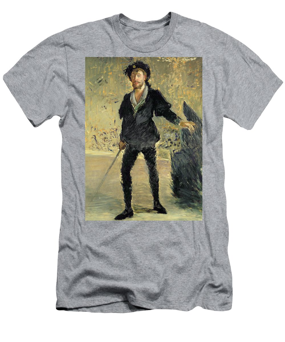 Male Men's T-Shirt (Athletic Fit) featuring the painting Jean Baptiste Faure In The Opera Hamlet By Ambroise Thomas by Edouard Manet