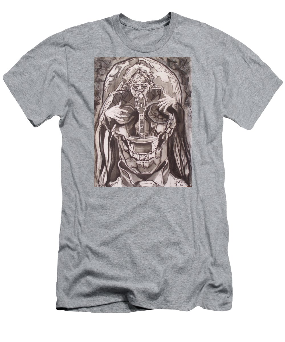 Charcoal T-Shirt featuring the drawing Jerry Garcia . . Magic Is What We Do - Music Is How We Do It by Sean Connolly