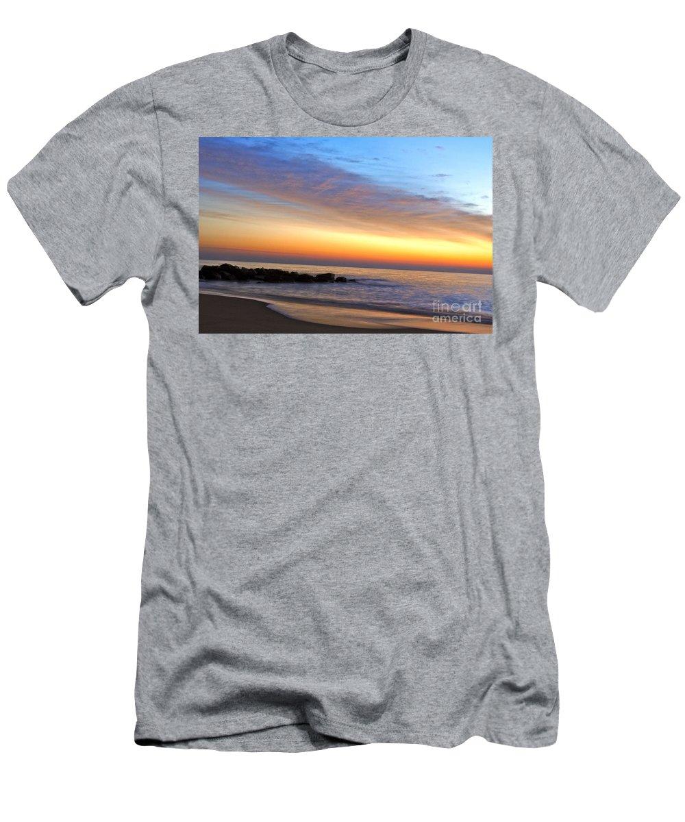 Jersey Shore Men's T-Shirt (Athletic Fit) featuring the digital art Jersey Shore Sunrise by Danielle Summa