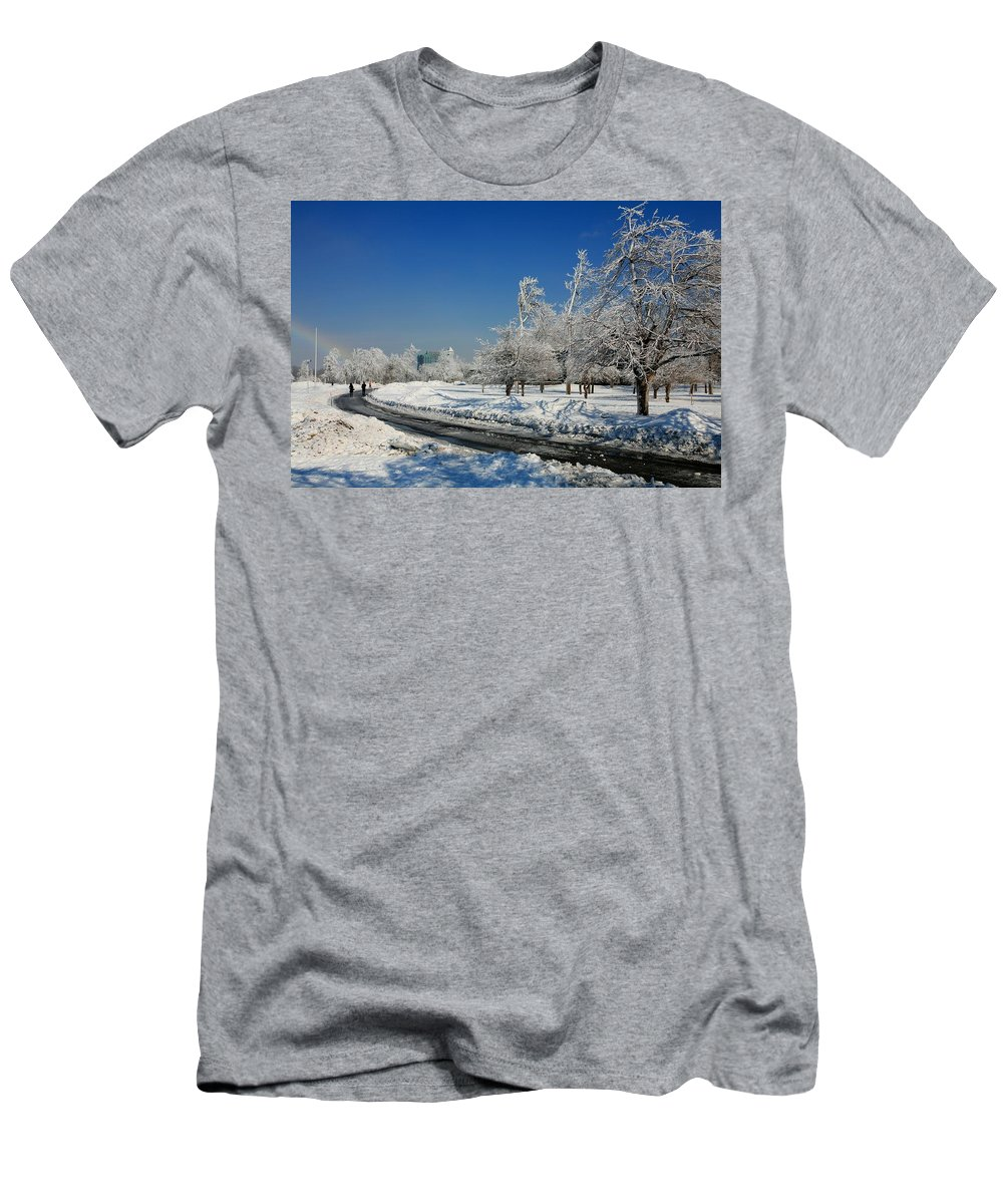 Niagara Falls Men's T-Shirt (Athletic Fit) featuring the photograph Jogger On Ice by Eric Swan
