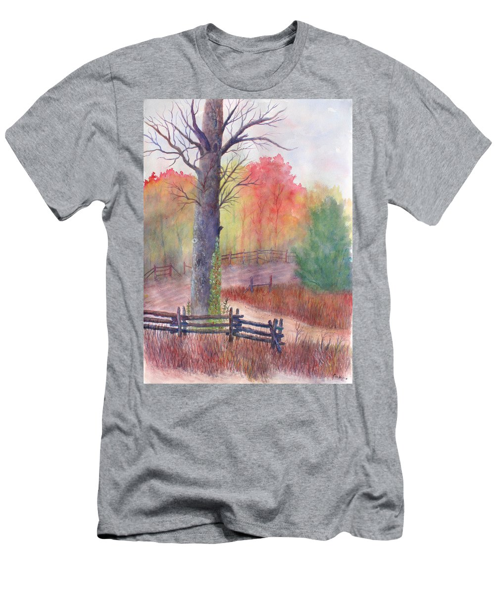 Fall T-Shirt featuring the painting Joy of Fall by Ben Kiger