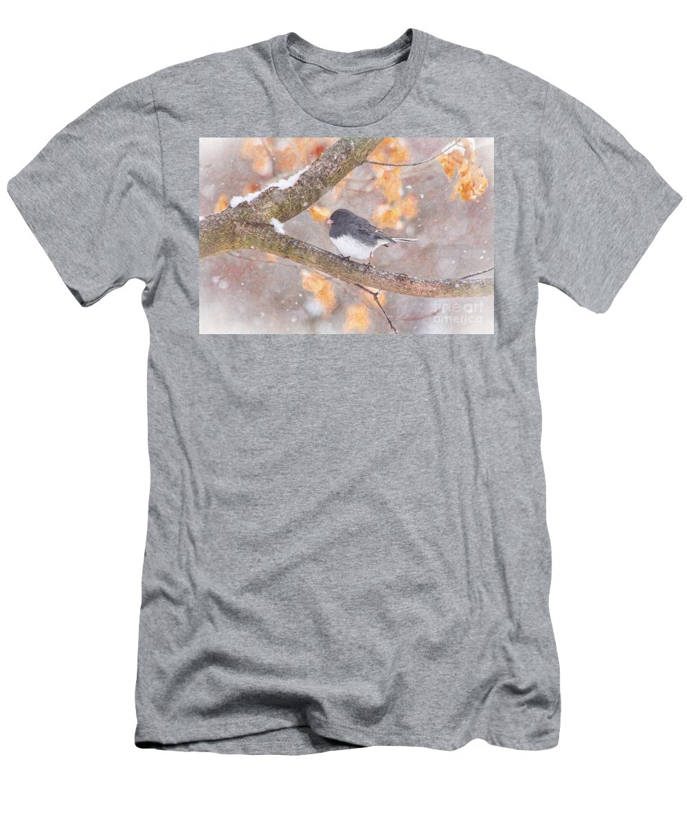Birds Men's T-Shirt (Athletic Fit) featuring the photograph Junco In Snow by Jack Schultz