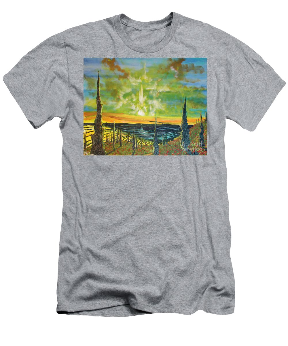 Landscape Men's T-Shirt (Athletic Fit) featuring the painting Just Beyond The Sea by Stefan Duncan