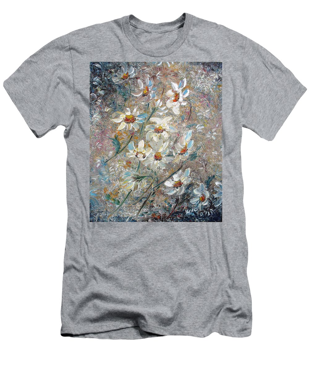 Daisies Painting Abstract Flower Painting Botanical Painting Bloom Greeting Card Painting Men's T-Shirt (Athletic Fit) featuring the painting Just Dasies by Karin Dawn Kelshall- Best