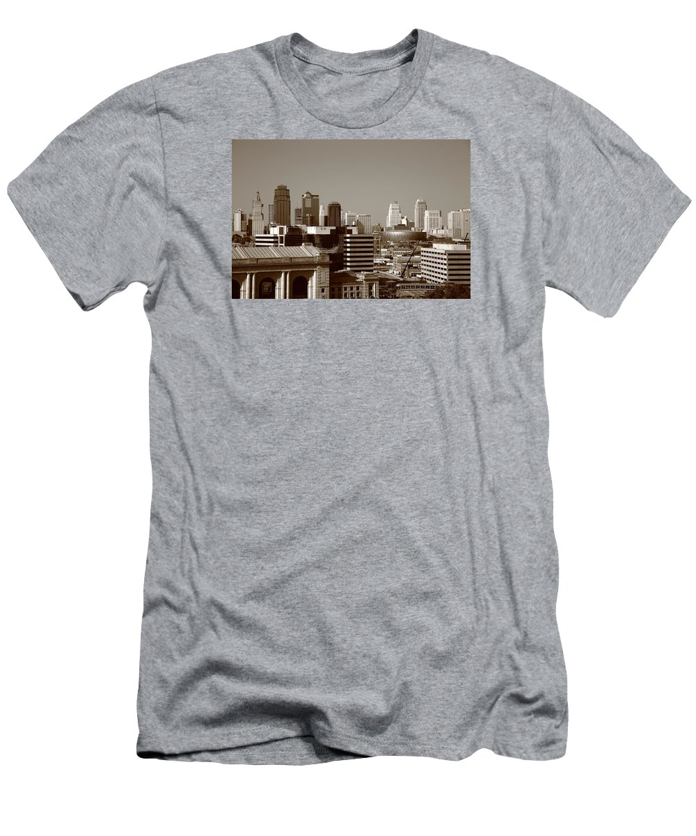 America Men's T-Shirt (Athletic Fit) featuring the photograph Kansas City Skyline 10 by Frank Romeo