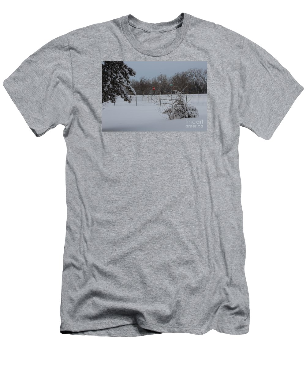 Snow Men's T-Shirt (Athletic Fit) featuring the photograph Kansas Snowy Landscape Tree's And Fence by Robert D Brozek