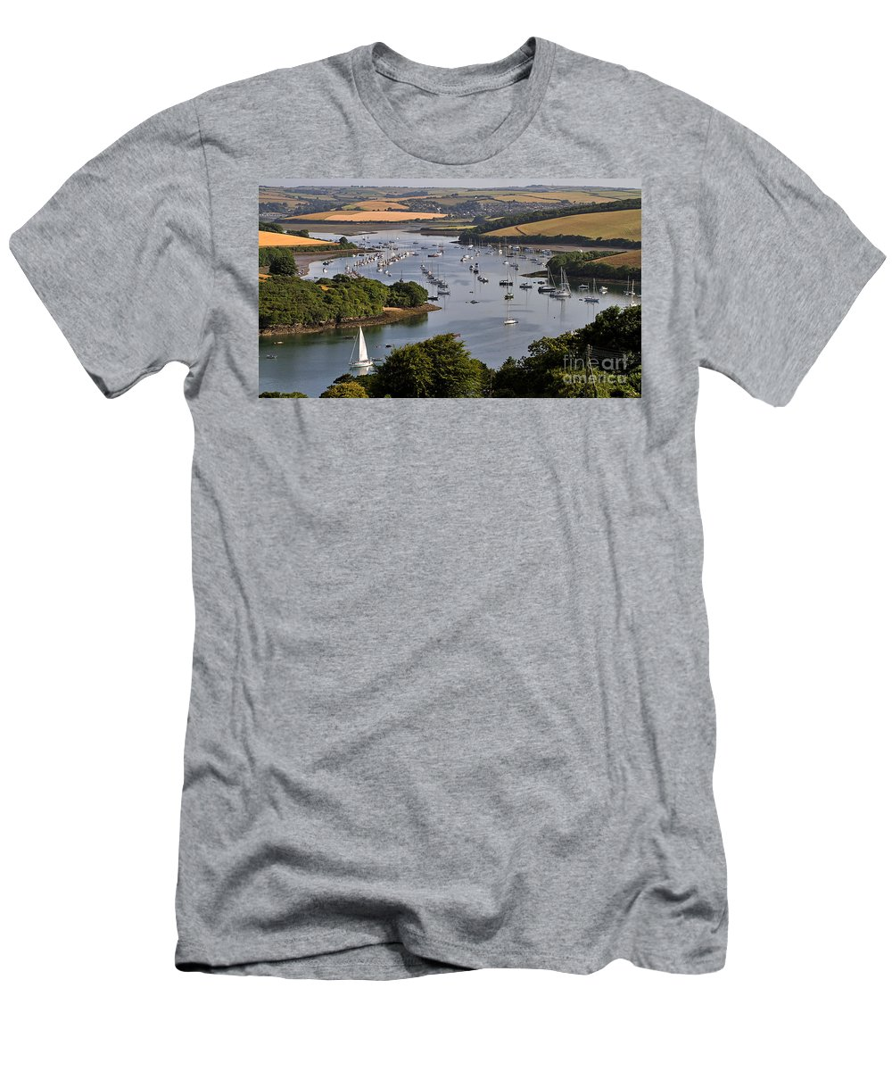 Landscape Men's T-Shirt (Athletic Fit) featuring the photograph Kingsbridge Estuary Devon by Louise Heusinkveld