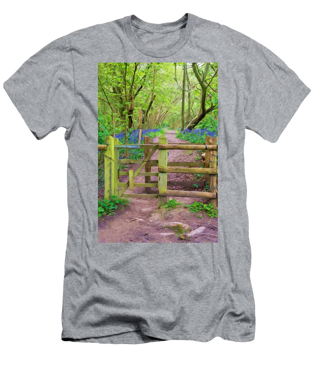 Bluebell Men's T-Shirt (Athletic Fit) featuring the mixed media Kissing Gate Painting. by Roy Pedersen