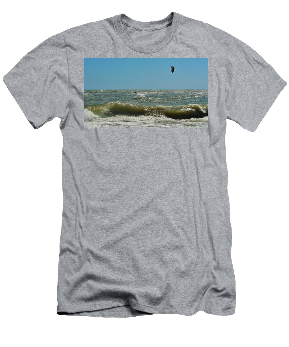Mark Lemmon Cape Hatteras Nc The Outer Banks Photographer Subjects From Sunrise Men's T-Shirt (Athletic Fit) featuring the photograph Kite Boarding Hatteras 3 8/24 by Mark Lemmon