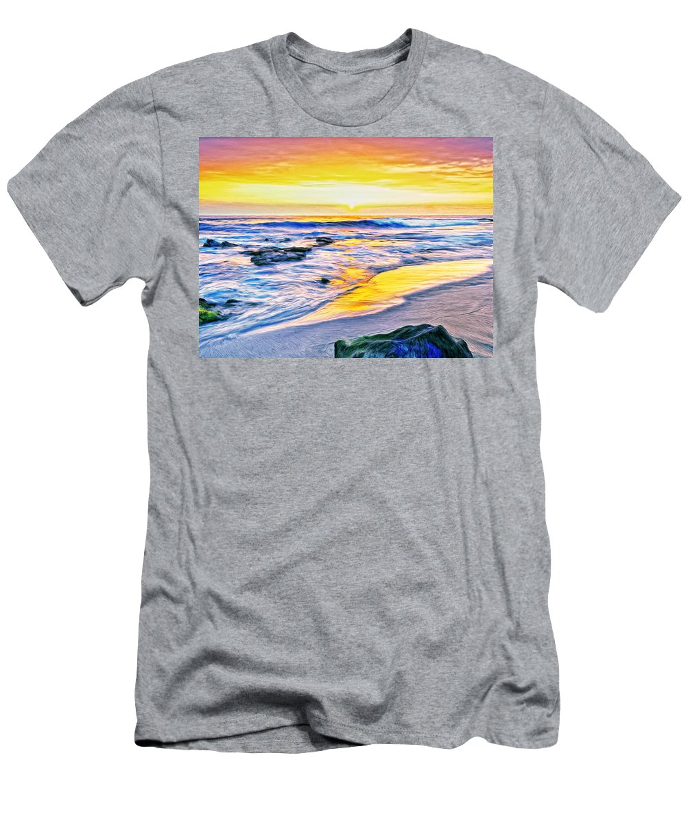 Kona Coast Sunset Men's T-Shirt (Athletic Fit) featuring the painting Kona Coast Sunset by Dominic Piperata