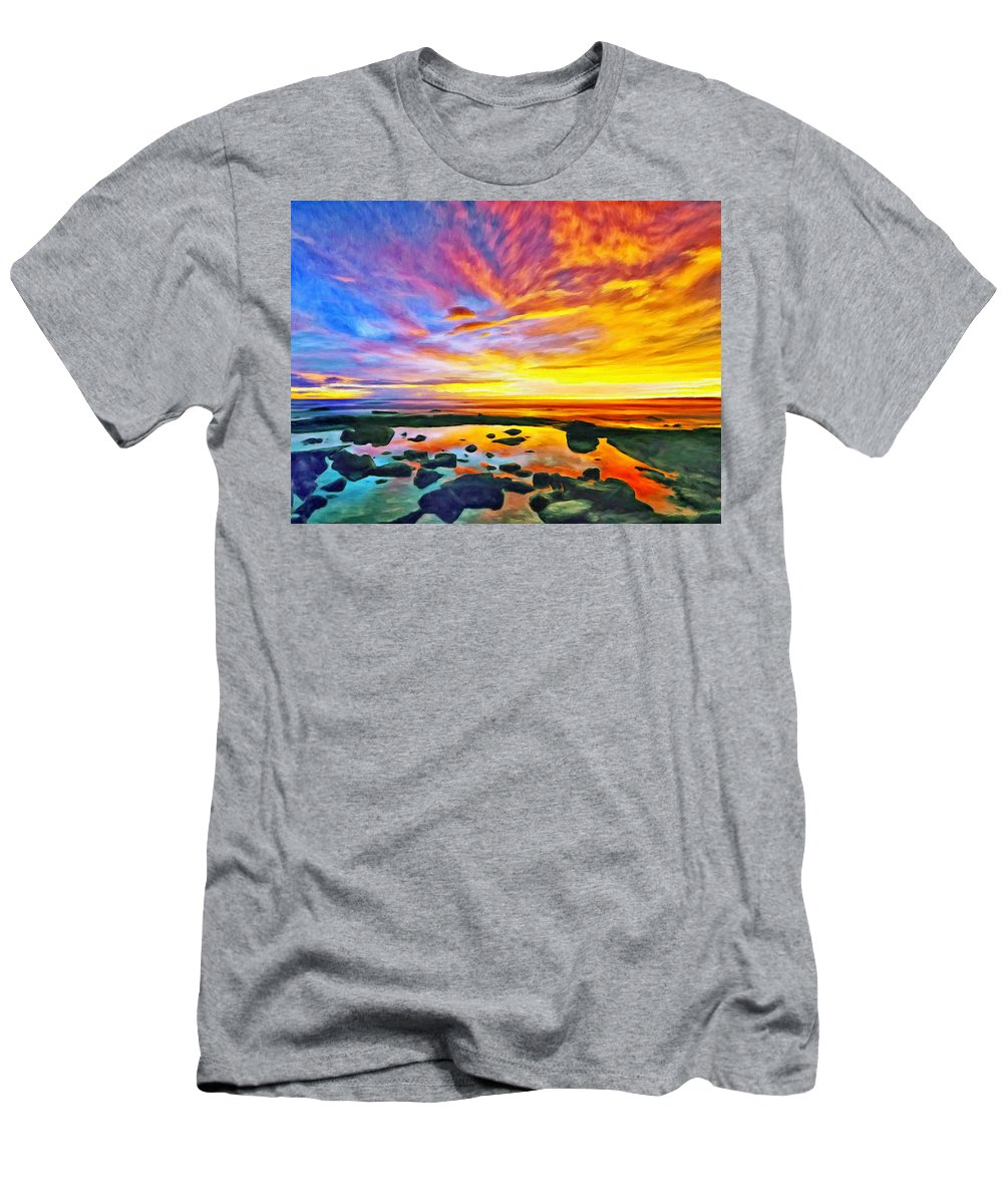 Tidepool Men's T-Shirt (Athletic Fit) featuring the painting Kona Tidepool Reflections by Dominic Piperata