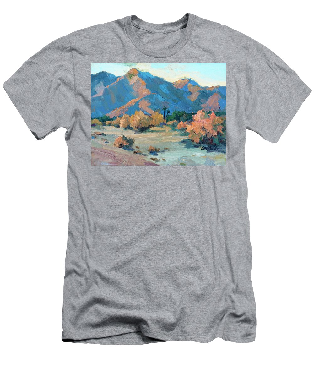 La Quinta Cove Men's T-Shirt (Athletic Fit) featuring the painting La Quinta Cove - Highway 52 by Diane McClary