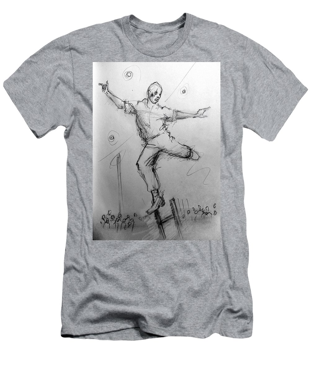 Acrobat Men's T-Shirt (Athletic Fit) featuring the drawing Ladder Work by H James Hoff