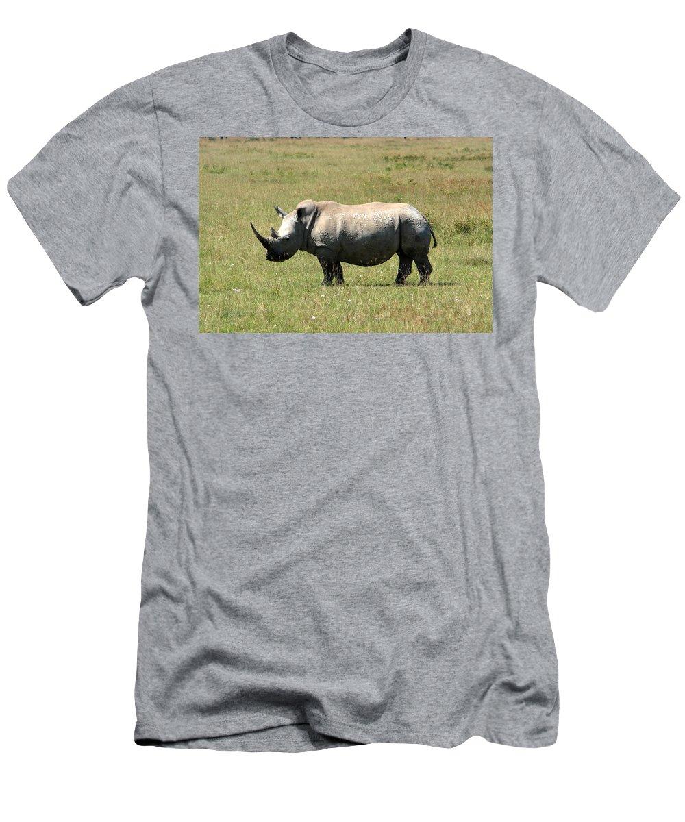 Africa Men's T-Shirt (Athletic Fit) featuring the photograph Lake Nakuru White Rhino by Aidan Moran