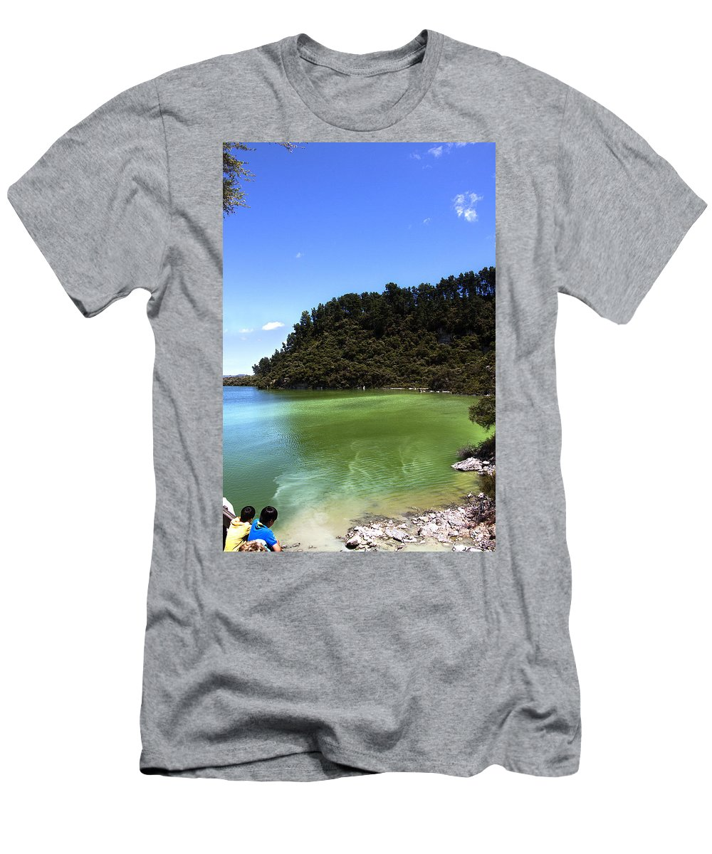 New Zealand Men's T-Shirt (Athletic Fit) featuring the photograph Lake Ngakoro Rotorua New Zealand by Peter Lloyd
