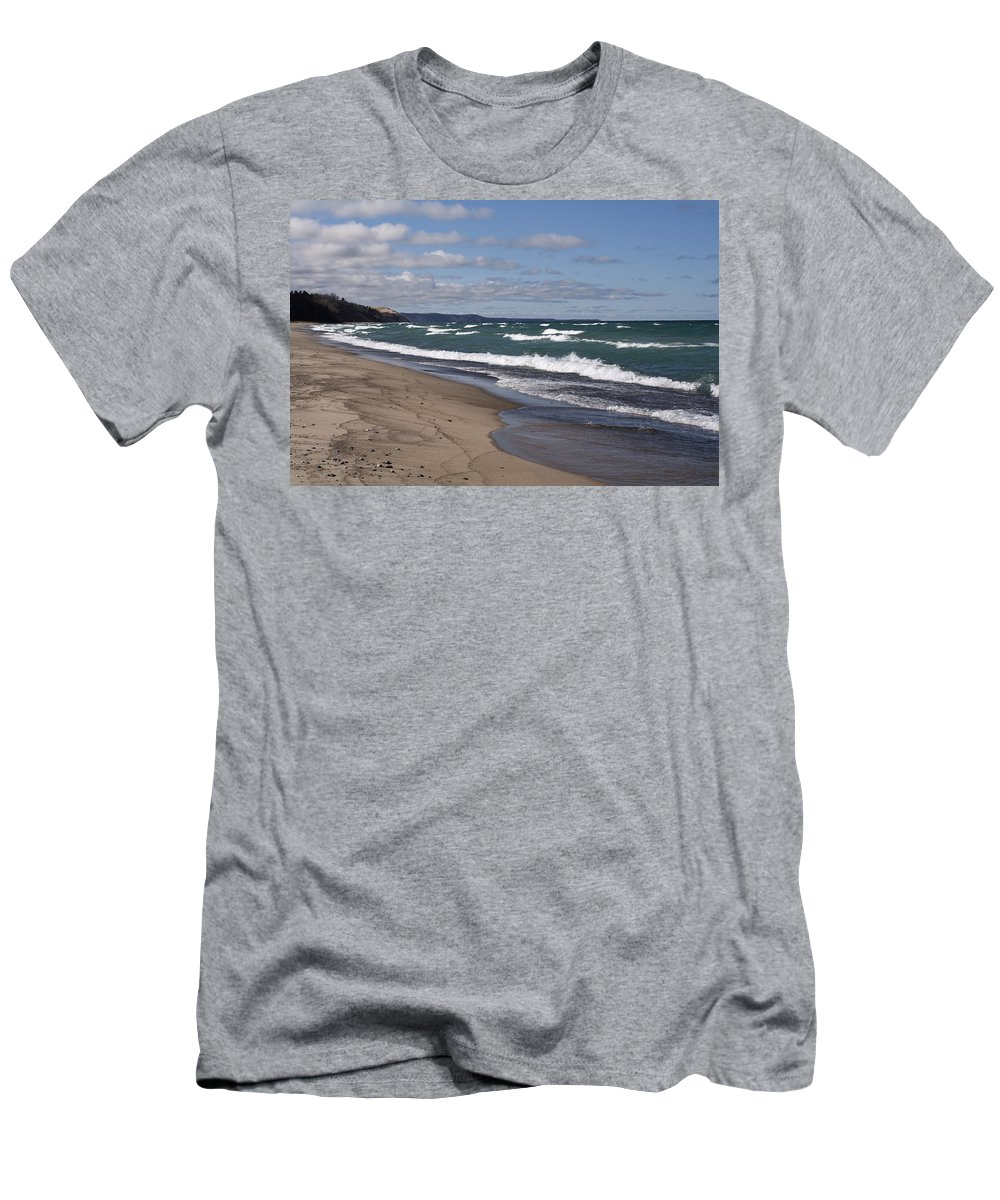 Beach Men's T-Shirt (Athletic Fit) featuring the photograph Lake Superior Shoreline by Debby Richards