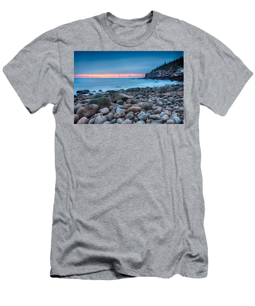 Acadia Men's T-Shirt (Athletic Fit) featuring the photograph Land Of Sunrise by Evelina Kremsdorf