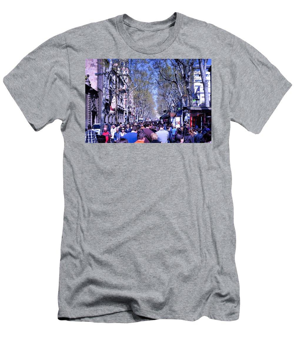 La Boqueria Men's T-Shirt (Athletic Fit) featuring the photograph Las Ramblas - Barcelona Spain by Jon Berghoff