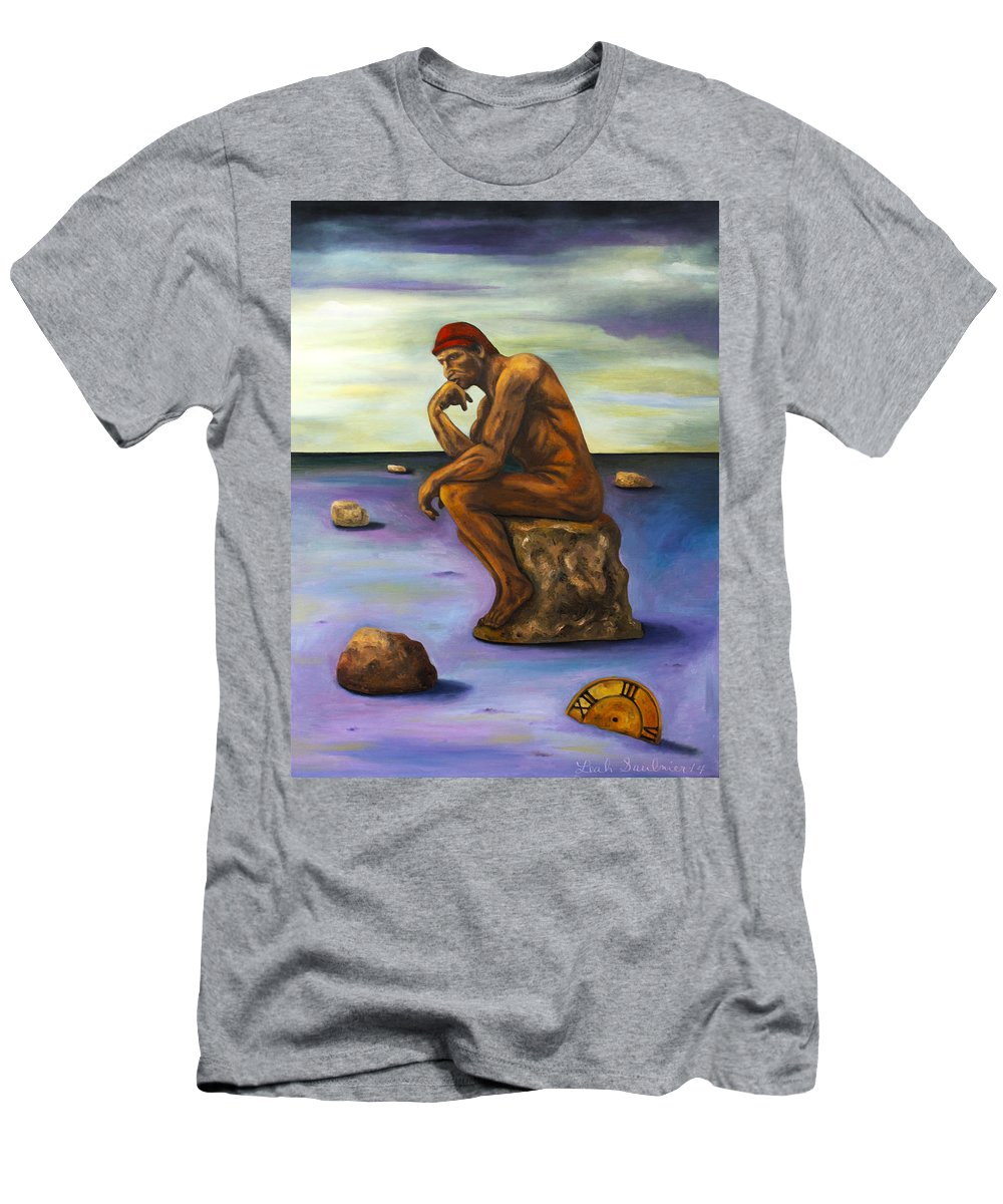 Nude Men's T-Shirt (Athletic Fit) featuring the painting Last Man In The World Edit 5 by Leah Saulnier The Painting Maniac