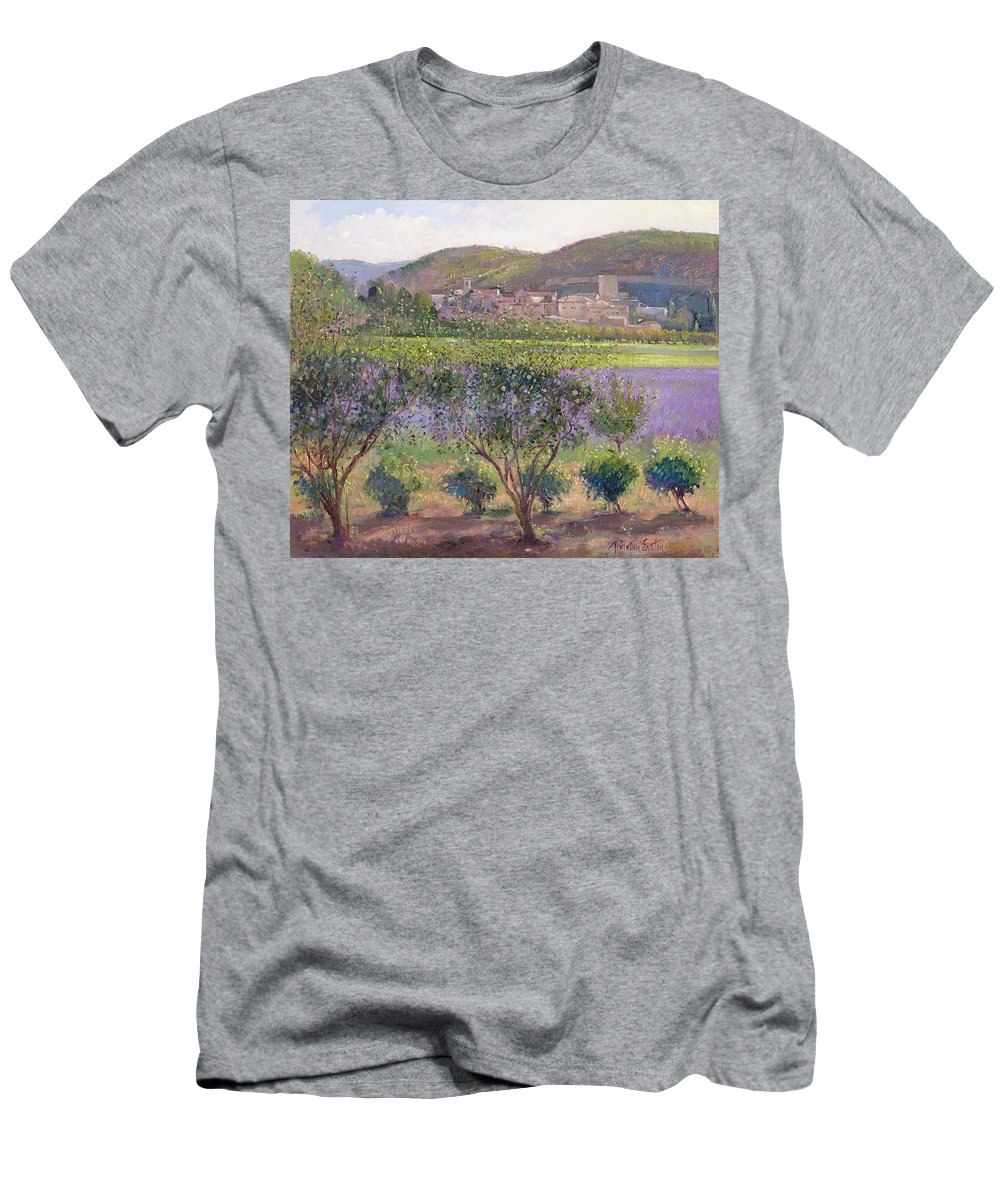 Landscape; Tree; Bush; Field; Summer; Evening; Lavender Seen Through Quince Trees Men's T-Shirt (Athletic Fit) featuring the painting Lavender Seen Through Quince Trees by Timothy Easton