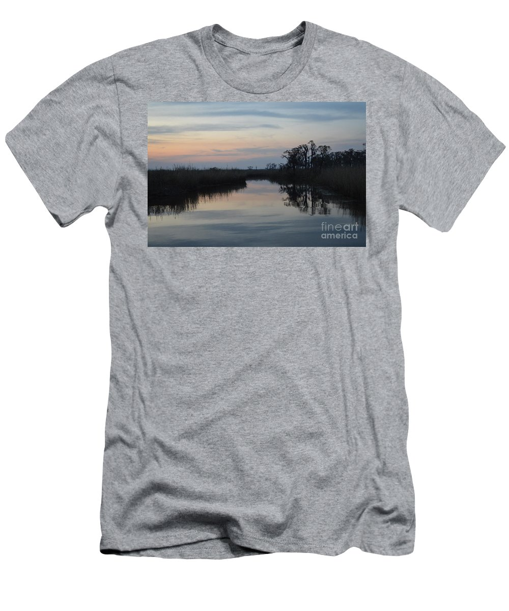 Louisiana Bayou Men's T-Shirt (Athletic Fit) featuring the photograph Lazy Bayou by Xyldia Grace