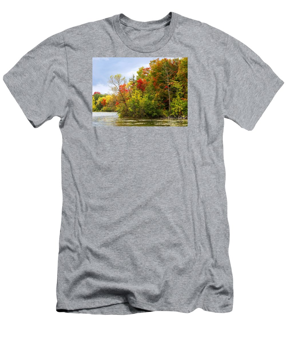 Autumn T-Shirt featuring the photograph Leaning into Autumn by Ann Horn