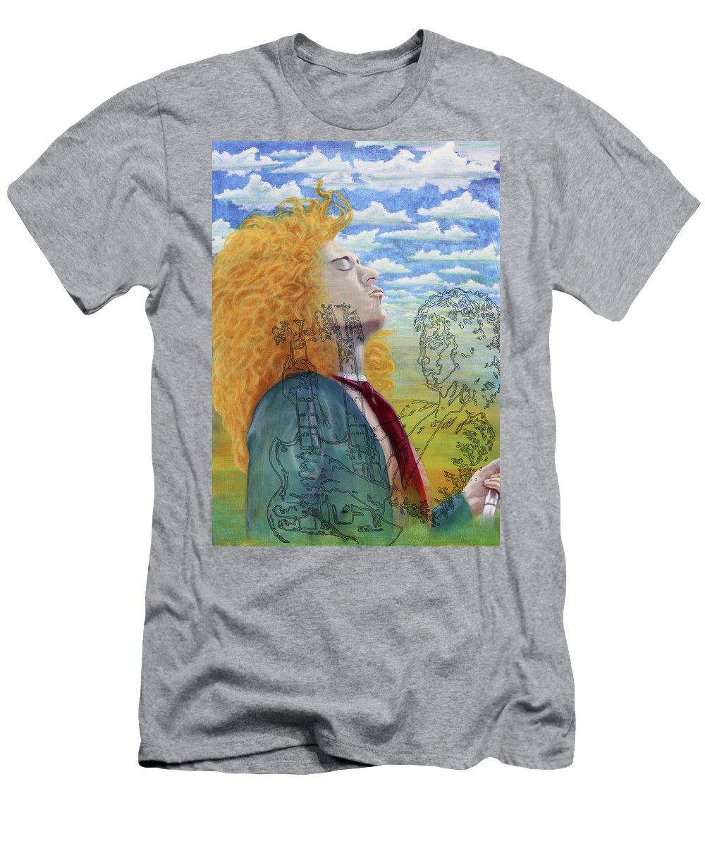 Led Zeppelin Men's T-Shirt (Athletic Fit) featuring the painting Led Zeppelin by Sue Brehm