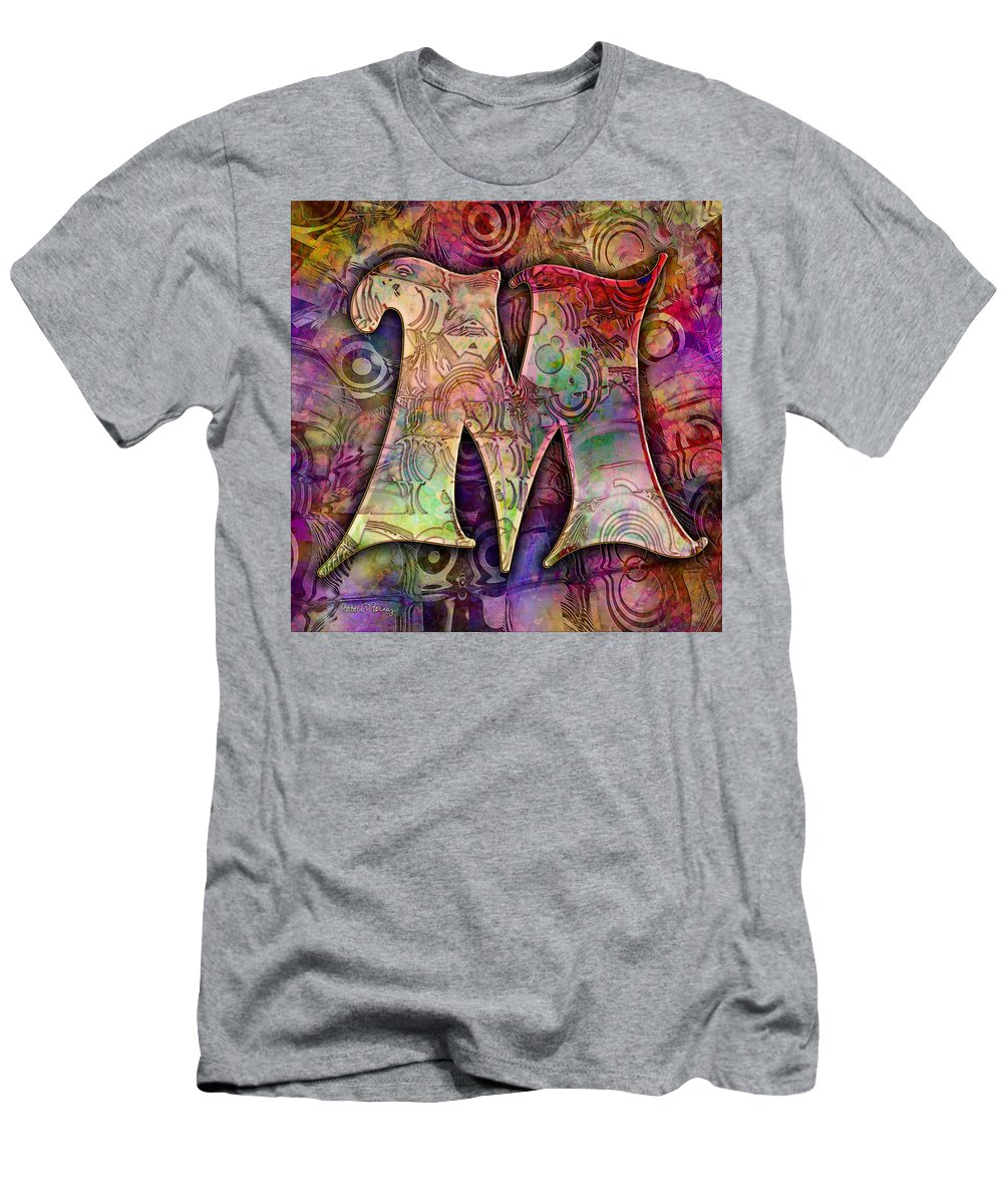 Alphabet Men's T-Shirt (Athletic Fit) featuring the digital art Letter M by Barbara Berney