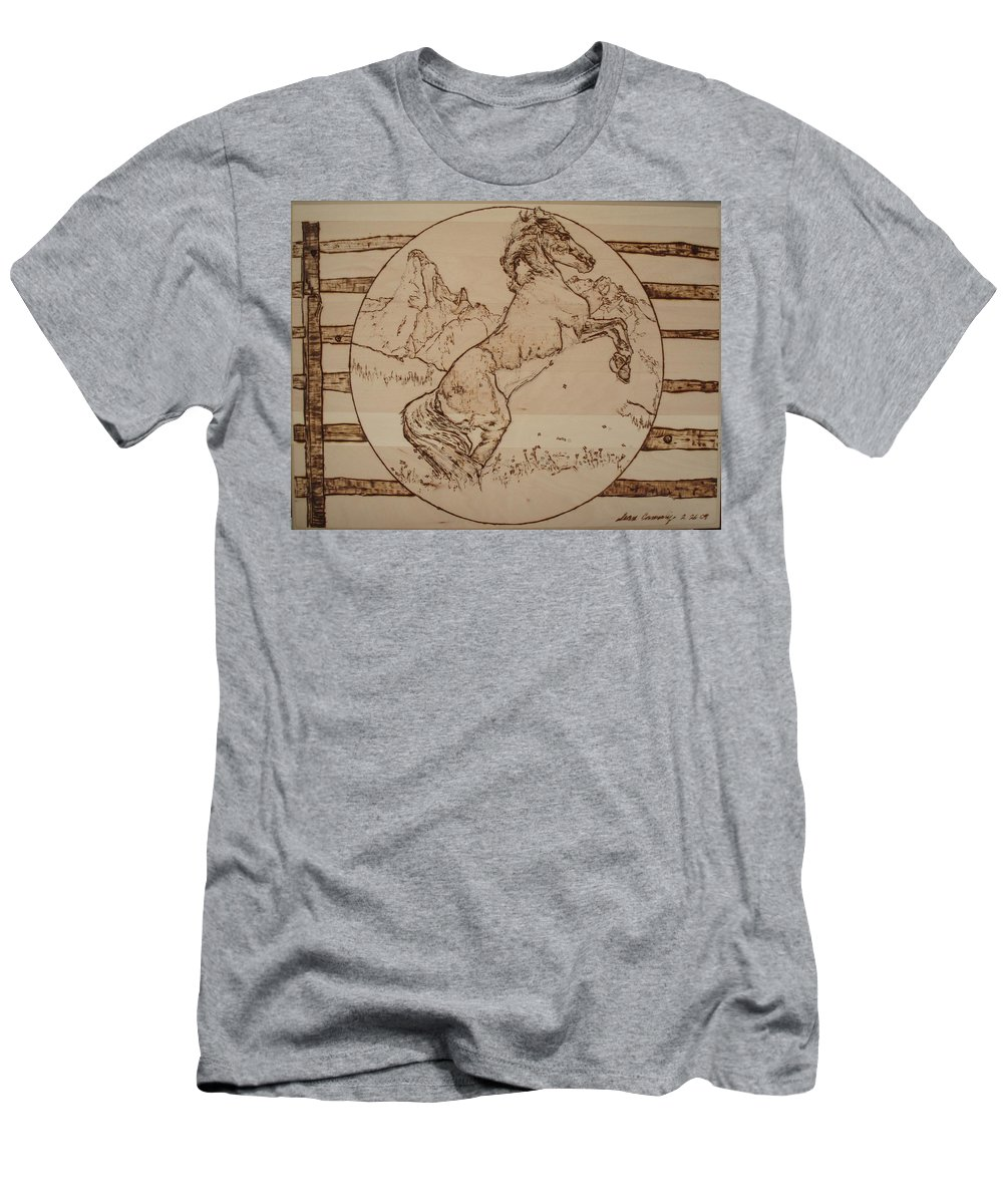 Pyrography Men's T-Shirt (Athletic Fit) featuring the pyrography Wild Horse by Sean Connolly
