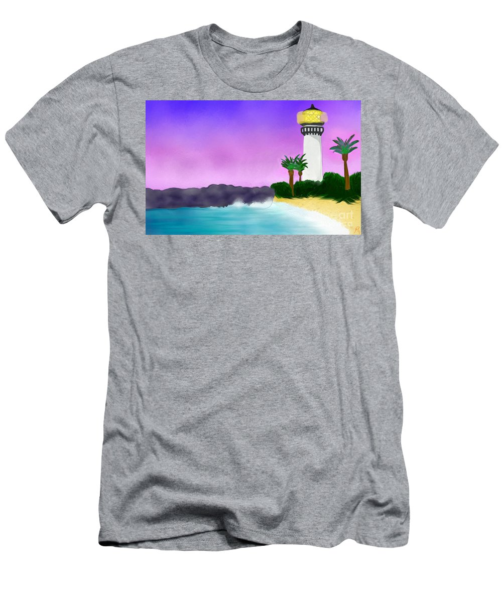 African-american Artist Men's T-Shirt (Athletic Fit) featuring the painting Lighthouse On Beach by Anita Lewis