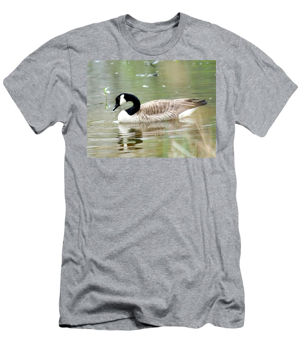 Canadian Goose Men's T-Shirt (Athletic Fit) featuring the photograph Lila Goose Queen Of The Pond 2 by Lesa Fine
