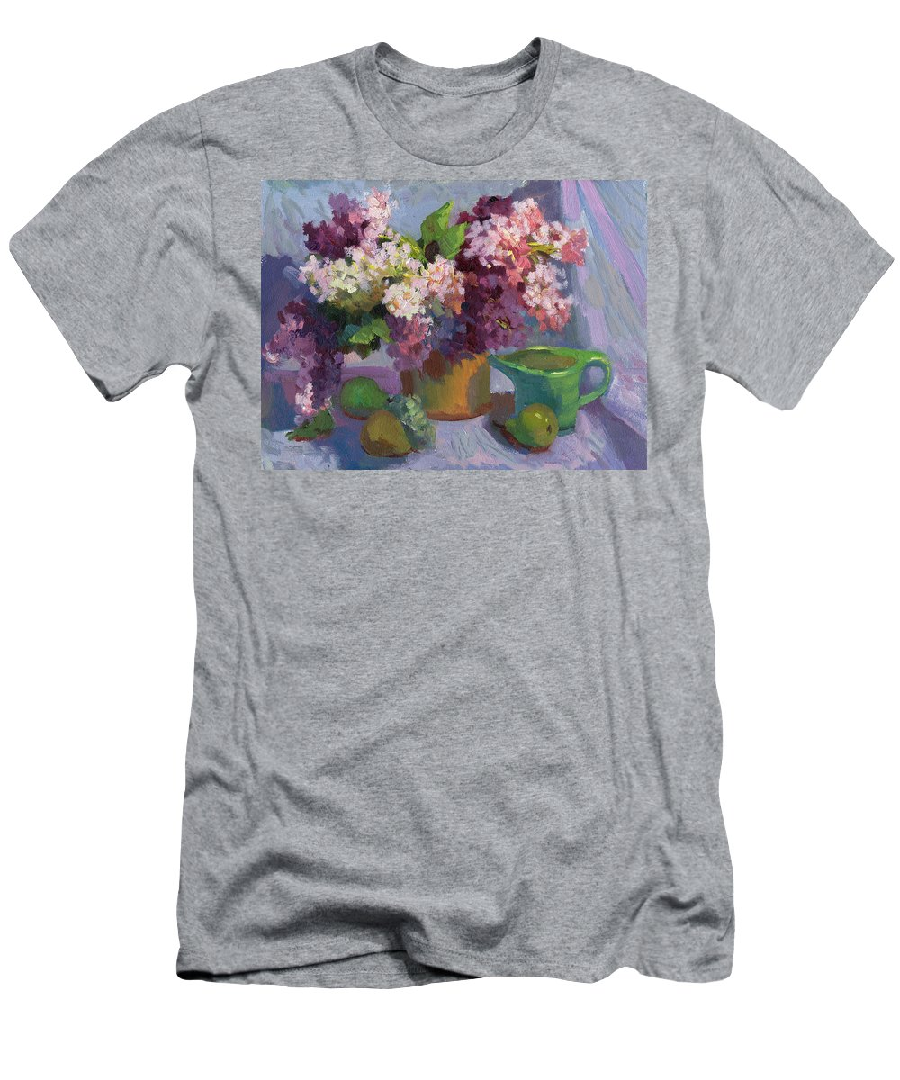 Lilacs And Pears Men's T-Shirt (Athletic Fit) featuring the painting Lilacs And Pears by Diane McClary