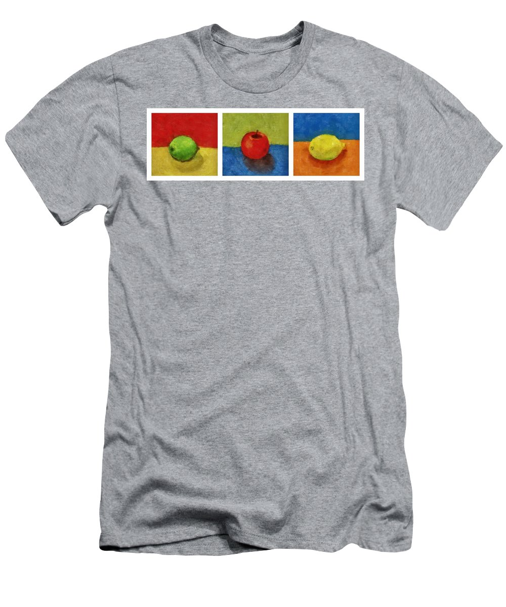 Lime Men's T-Shirt (Athletic Fit) featuring the painting Lime Apple Lemon by Michelle Calkins