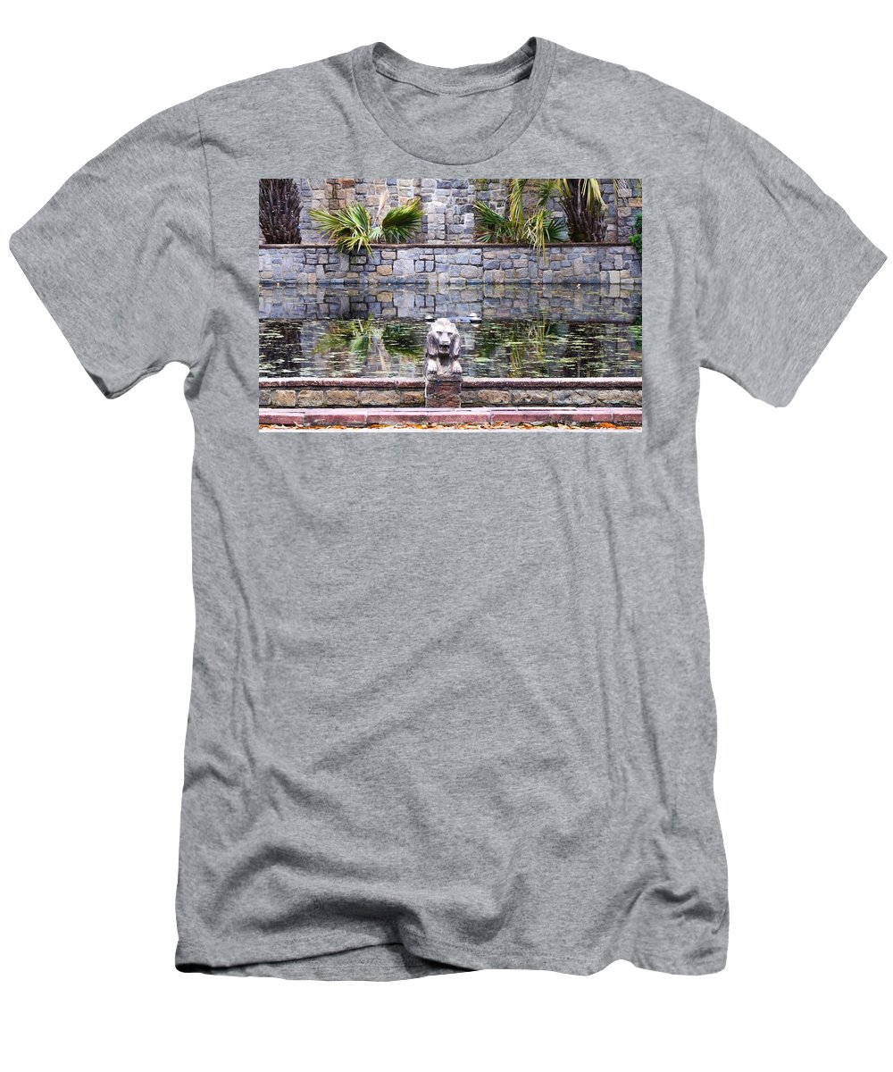 Lions In The Renaissance Court Fountain Men's T-Shirt (Athletic Fit) featuring the painting Lions In The Renaissance Court Fountain 2 by Jeelan Clark