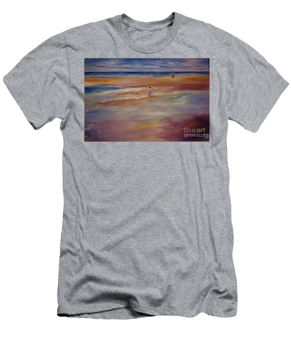 Child Men's T-Shirt (Athletic Fit) featuring the painting Little Wanderer by Sandy Ryan